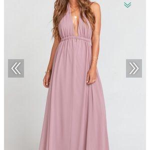 Poly chiffon purple bridesmaid dress